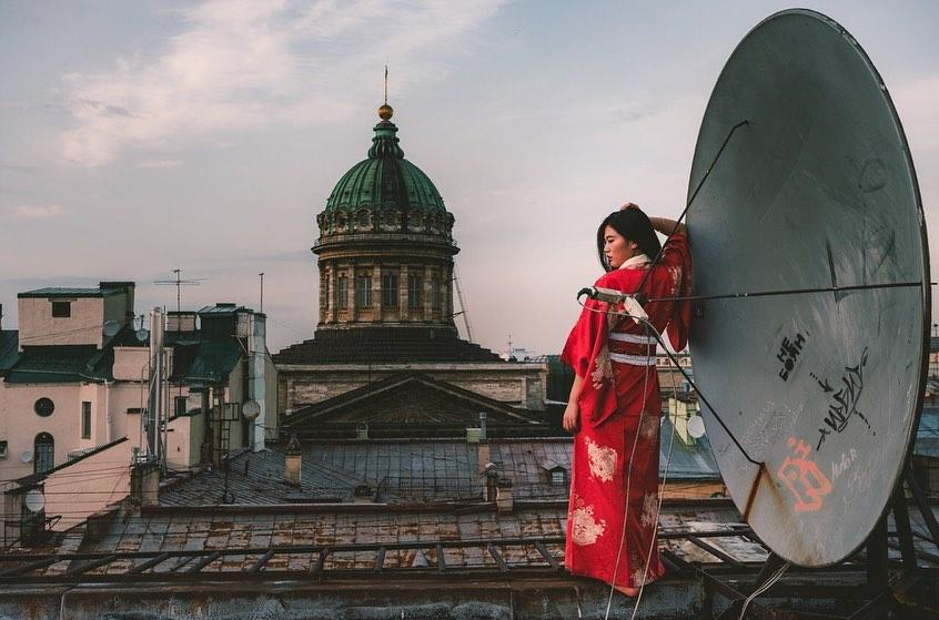 Photo of person on roof in Russia
