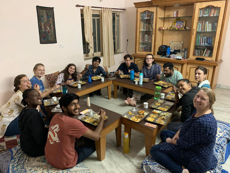 Photo of the Bridge Year India cohort having Thanksgiving dinner